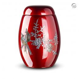 Glasfiber Urn Vogels rood