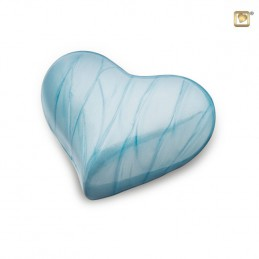 Messing Mini Hart Urn blauw