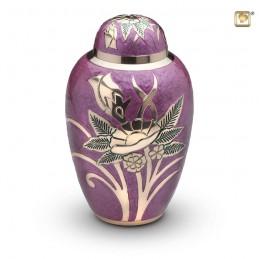Grote Messing Urn bloem paars
