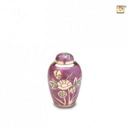 Messing Mini Urn bloem paars