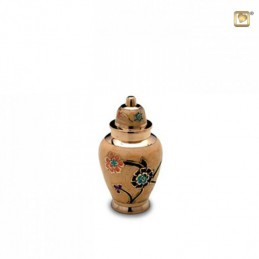 Messing Mini Urn bloem beige